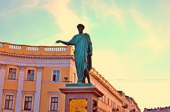 Odessa, house, Duke de Richelieu,monument Royalty Free Stock Photo
