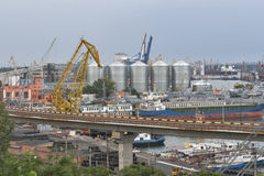 Odessa industrial seaport at sunset, Ukraine Stock Photography
