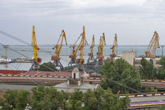 Odessa industrial seaport at sunset, Ukraine Royalty Free Stock Image