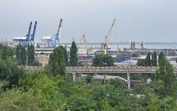 Odessa industrial seaport at sunset, Ukraine Stock Photos