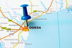 Odessa on map. With push pin Royalty Free Stock Photography