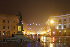 Odessa. Monument to Duke of Richelieu in the fog. Christmas.
