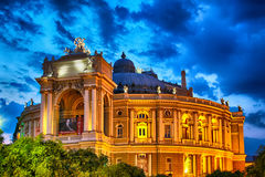 Odessa Opera And Ballet Theater At Night Stock Photography