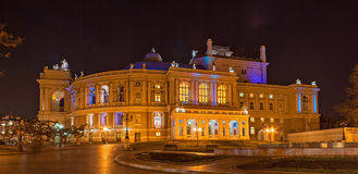 Odessa Opera and Ballet Theater at night Stock Image