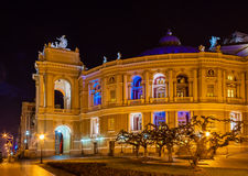 Odessa Opera and Ballet Theater at night. Ukraine Royalty Free Stock Photography