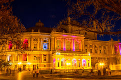 Odessa Opera and Ballet Theater at night Royalty Free Stock Images