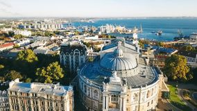 Odessa Opera and Ballet Theater Ukraine. aerial video footage. city cultural sightseeing. Top view stock video