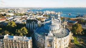 Odessa Opera en Ballettheater de Oekraïne Lucht Videolengte stad cultureel sightseeing stock video