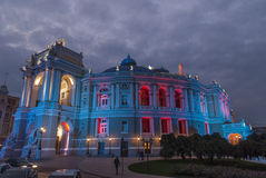 Odessa Opera House am Abend Lizenzfreie Stockbilder