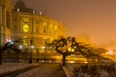 odessa Opera i dimman Royaltyfri Bild