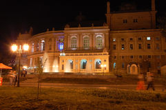 Odessa Opera Theater. The side view of Odessa Opera  Theater in artificial lighting at night Royalty Free Stock Photography