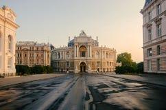 Odessa Opera- und Ballett-Theater bei Sonnenaufgang Stockbilder
