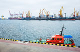 Odessa port cargo cranes Royalty Free Stock Photo