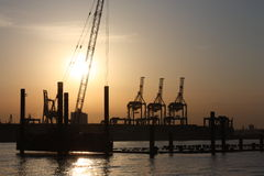 Odessa port, seaview. Odessa port as seen from ship as the sun dips below the horizon Stock Photography