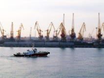 Odessa port. Tilt shift effect royalty free stock photos