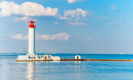 Odessa red and white lighthouse in bright sunny summer day Stock Image