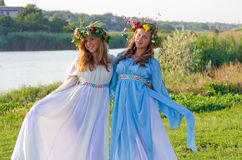 Odessa region, village Vizirka, Ukraine - 6  July 2013: holiday Ivana Kupala Night Royalty Free Stock Photo