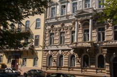 Odessa, South of Ukraine, Primorsky boulevard, July 10, 2018. Walking on the city streets in summer with ancient buildings and gre. At architecture royalty free stock images
