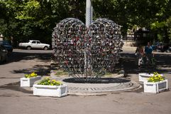 Odessa, South of Ukraine, Primorsky boulevard. July 10, 2018. Walking on the city streets in summer. The monument of sincere and p. Ure love. The padlock royalty free stock images