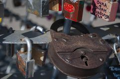 Odessa, South of Ukraine, Primorsky boulevard. July 10, 2018. Walking on the city streets in summer. The monument of sincere and p. Ure love. The padlock royalty free stock image