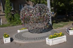 Odessa, South of Ukraine, Primorsky boulevard. July 10, 2018. Walking on the city streets in summer. The monument of sincere and p. Ure love. The padlock stock photos