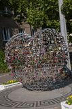 Odessa, South of Ukraine, Primorsky boulevard. July 10, 2018. Walking on the city streets in summer. The monument of sincere and p. Ure love. The padlock stock image