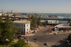Odessa, South of Ukraine, Seaside boulevard, July 10, 2018. Walking on the city streets in summer. Lot of houses, cafes, trees, fo. Utains royalty free stock image