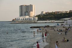 Odessa, South of Ukraine, Seaside boulevard, July 10, 2018. Walking on the city streets in summer. Tourists and travelling.  royalty free stock images