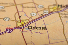Odessa, Texas on map. Closeup of Odessa, Texas on a political map of the United States Stock Photo