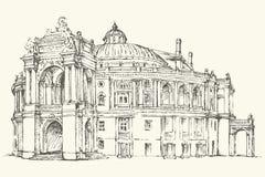 Odessa Theatre d'opéra et de ballet, Ukraine Croquis de vecteur Photo stock