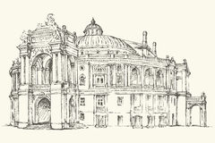 Odessa Theatre of Opera and Ballet, Ukraine. Vector sketch. Odessa National Academic Theatre of Opera and Ballet, Ukraine. Vector monochrome freehand ink drawn Stock Photo
