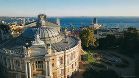 Odessa from the top. sightseeing Opera and Ballet Theater. aerial video footage. Top view. Ukrainian most interesting. Cities. Morning sunlight stock video