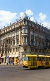 Odessa Tram på den Preobrazhenska gatan Arkivbild