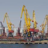 Odessa, Ucrânia - 30 de julho de 2016: Guindastes do recipiente no porto da carga Foto de Stock Royalty Free