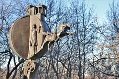 Odessa, Ucraina Monumento all'arancia, individuata vicino alla spiaggia di Odessa immagini stock libere da diritti