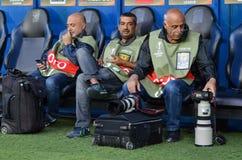 ODESSA, UCRAINA - 15 settembre 2016: I fotografi turchi si siedono immagini stock libere da diritti