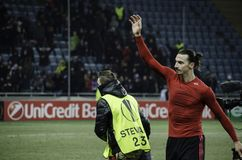 ODESSA UKRAINA - December 08, 2016: Zlatan Ibrahimovic under t royaltyfria foton