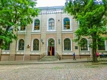Odessa Ukraina - Jily 09, 2017: Yttersida av synagogan Beit Habad Royaltyfri Fotografi