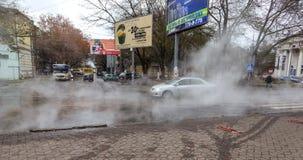 Odessa Ukraina November 28 2018: Olycka på att värma strömförsörjningen bristning arkivfoton