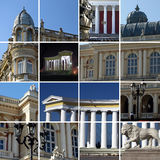 Odessa, Ukraine. City architecture - a collage. Fragments of historical buildings of city of Odessa, Ukraine Stock Photo