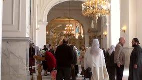 Odessa, Ukraine - April 23, 2014: Orthodox Christian believers stock video footage