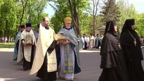 Odessa, Ukraine - April 23, 2014: Orthodox Christians priests commit Religious Procession Royalty Free Stock Photo