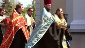Odessa, Ukraine - April 23, 2014: Orthodox Christians priests commit Religious Procession Royalty Free Stock Photo