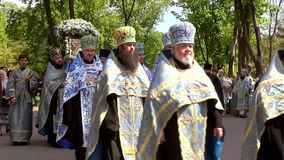 Odessa, Ukraine - April 23, 2014: Orthodox Christians priests commit Religious Procession Stock Image