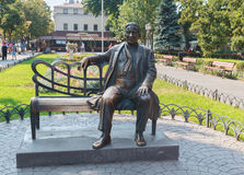 Odessa, Ukraine - August 28, 2015:  Monument to the famous singer Leonid Utesov Stock Image
