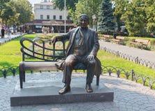 Odessa, Ukraine - August 28, 2015:  Monument to the famous singer Leonid Utesov Stock Image