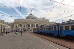 Odessa, Ukraine - August 23, 2015:  People on the platform of the railway stationon Royalty Free Stock Photography