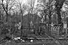 Panoramic view of tombs located in the main cemetery of the city. stock images