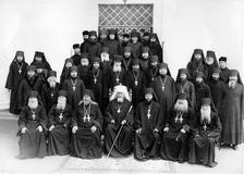 ODESSA, UKRAINE, circa 1950 - Vintage photos of high priests of Stock Photo