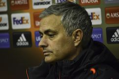 ODESSA, UKRAINE - 8 décembre 2016 : Entraîneur Jose Mourinho à des RP Photos stock